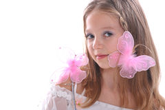 Het mooie meisje en de vlinders Royalty-vrije Stock Afbeeldingen