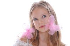 Het mooie meisje en de vlinders Royalty-vrije Stock Foto's