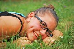 Het mooie meisje glimlachen royalty-vrije stock foto's