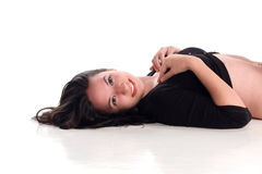 Het mooie meisje glimlachen Stock Afbeeldingen