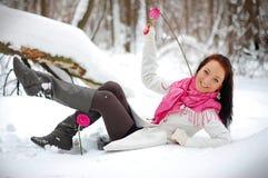 Het mooie meisje glimlachen Vorst, de winter Royalty-vrije Stock Fotografie