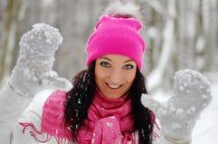 Het mooie meisje glimlachen Vorst, de winter Stock Foto