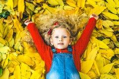 Het mooie meisje heeft pret in het park, de herfsttijd royalty-vrije stock afbeeldingen