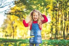 Het mooie meisje heeft pret in het park, de herfsttijd royalty-vrije stock foto's