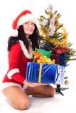Het mooie meisje kleedde zich als santa Stock Foto's