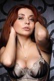 Het mooie meisje met grote borst Stock Fotografie