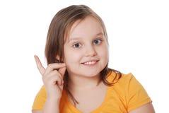 Het mooie meisje schudt vinger Royalty-vrije Stock Afbeeldingen