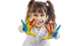 Het mooie meisje spelen met kleuren Stock Fotografie