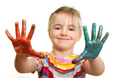 Het mooie meisje spelen met kleuren Stock Foto's