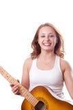 Het mooie meisje stellen met gitaar. #11 Stock Foto