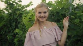 Het mooie meisje stellen in wijngaarden in het warme seizoen stock videobeelden
