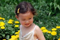 Het mooie meisje van China in bloemen Stock Afbeeldingen