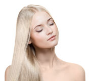 Het mooie Meisje van de Blonde. Gezond Lang Haar Royalty-vrije Stock Foto's