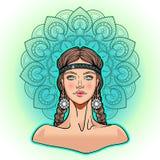 Het mooie meisje van de fantasiemanier met vlechtenportret en bloemenmandala , hand getrokken vectorbeeld Royalty-vrije Stock Fotografie