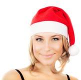 Het mooie meisje van de Kerstman Stock Afbeeldingen