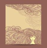 Het Mooie Meisje van de malplaatjevlieger met lang krullend haar in beige stock illustratie