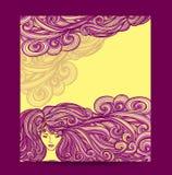 Het Mooie Meisje van de malplaatjevlieger met lang krullend haar in gele sering stock illustratie