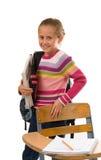 Het mooie Meisje van de School met boeken en rugzak Royalty-vrije Stock Afbeelding