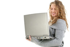 Het mooie Meisje van Zestien Éénjarigen met Laptop stock afbeeldingen