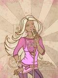 Het mooie meisje zingt Stock Foto's