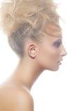 Het mooie model van de profielvrouw met broodjeskapsel Stock Foto's