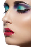 Het mooie modelgezicht van de close-up met maniersamenstelling Royalty-vrije Stock Fotografie