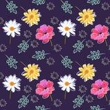 Het mooie naadloze patroon met papaver, madeliefje, goudsbloem bloeit en gaat op donkere purpere achtergrond weg Modieuze druk vo royalty-vrije illustratie