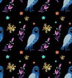 Het mooie naadloze patroon van de Kerstmiswaterverf met uilen, sneeuwvlokken, en brunch met decor vector illustratie