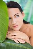 Het mooie naakte donkerbruine stellen met groene bladeren Stock Fotografie