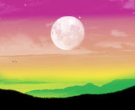 Het mooie ogenblik van het kleurenlandschap Stock Foto
