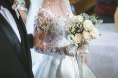 Het mooie ontwerp van het de bruid wed jonge volwassen huwelijk van het boekethuwelijk stock afbeelding