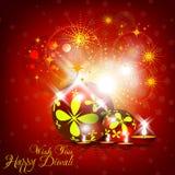 Het mooie ontwerp van de diwalikaart in glanzende het gloeien rode kleur B Stock Foto's