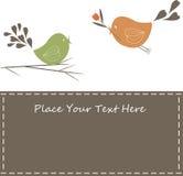 Het mooie Ontwerp van de Lente met Bloemen en vogels. Stock Fotografie