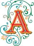 Het mooie ornament, voorziet A van letters Royalty-vrije Stock Afbeeldingen