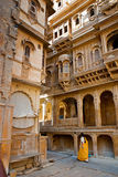 Het mooie paleis van Patwon ki Haveli, Jaisalmer, India Stock Afbeelding