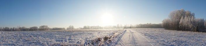 Het mooie panorama van het de winterlandschap royalty-vrije stock afbeeldingen