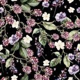 Het mooie patroon van de waterverflente met braambes en bloemenanemoon, lavendel stock illustratie