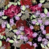 Het mooie patroon van de waterverflente met braambes en bloemenanemoon, pioen stock illustratie