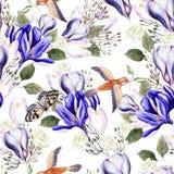 Het mooie patroon van het waterverf naadloze huwelijk met eucaluptys, krokus en vlinder vector illustratie