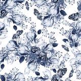 Het mooie patroon van het waterverf naadloze huwelijk met eucaluptys, krokus en vlinder royalty-vrije illustratie