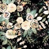 Het mooie patroon van het waterverfhuwelijk met bladeren en nam toe royalty-vrije illustratie
