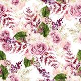Het mooie patroon van het waterverfhuwelijk met bladeren, varen, orchideeën en nam toe royalty-vrije illustratie