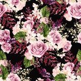 Het mooie patroon van het waterverfhuwelijk met bladeren, varen, orchidee?n en nam toe royalty-vrije illustratie