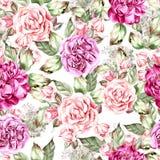 Het mooie patroon van het waterverfhuwelijk met rozen en pioen royalty-vrije illustratie