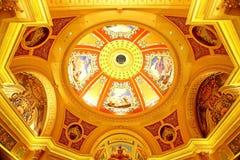 Het mooie schilderen op het plafond bij het Venetiaanse Hotel, Macao Royalty-vrije Stock Afbeeldingen