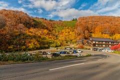 Het mooie seizoen van de de herfstkleur bij Hakkoda-gebied Royalty-vrije Stock Foto's