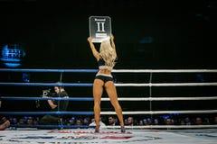 Het mooie sexy meisje in ring, zijn rug ziet lijst onder ogen toont aantal van rond Stock Fotografie