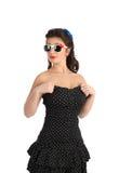 Het mooie speld-omhooggaande stijl model stellen over witte achtergrond Stock Foto