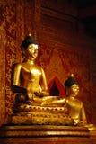 Het mooie standbeeld van Boedha in de Thaise Boeddhistische tempel Stock Foto