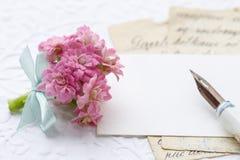 Het mooie uiterst kleine boeket van roze kalanchoeblossfeldiana bloeit a stock foto's